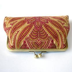 Bags And Purses, Clutch, bridesmaid, kisslock, silk, pKisslock Clutch Silk Lined Red Peacock