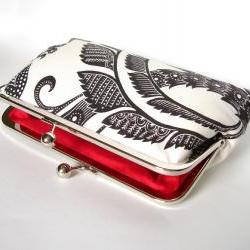 Silk Lined Black and White Floral Frame Kisslock Clutch Handbag