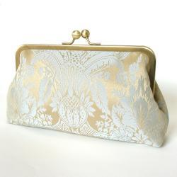 Silk Lined Damask Blue Frame Kisslock Clutch