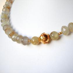 Gold Rutilated Quartz & 20K Solid Gold Necklace